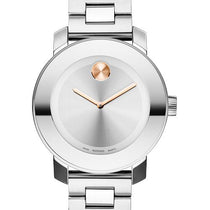 Ladies White Bold Stainless Steel Analogue Movado Watch 3600084