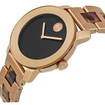 Ladies Two-tone Rose gold/Tortoise Bold Stainless Steel Analogue Movado Watch 3600189