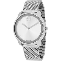 Ladies Silver Bold Mesh Analogue Movado Watch 3600241