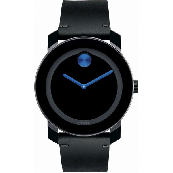 Men's Black Bold Leather Analogue Movado Watch 3600307