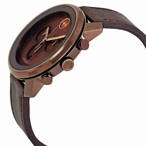 Men's Brown Bold Leather Analogue Movado Watch 3600420
