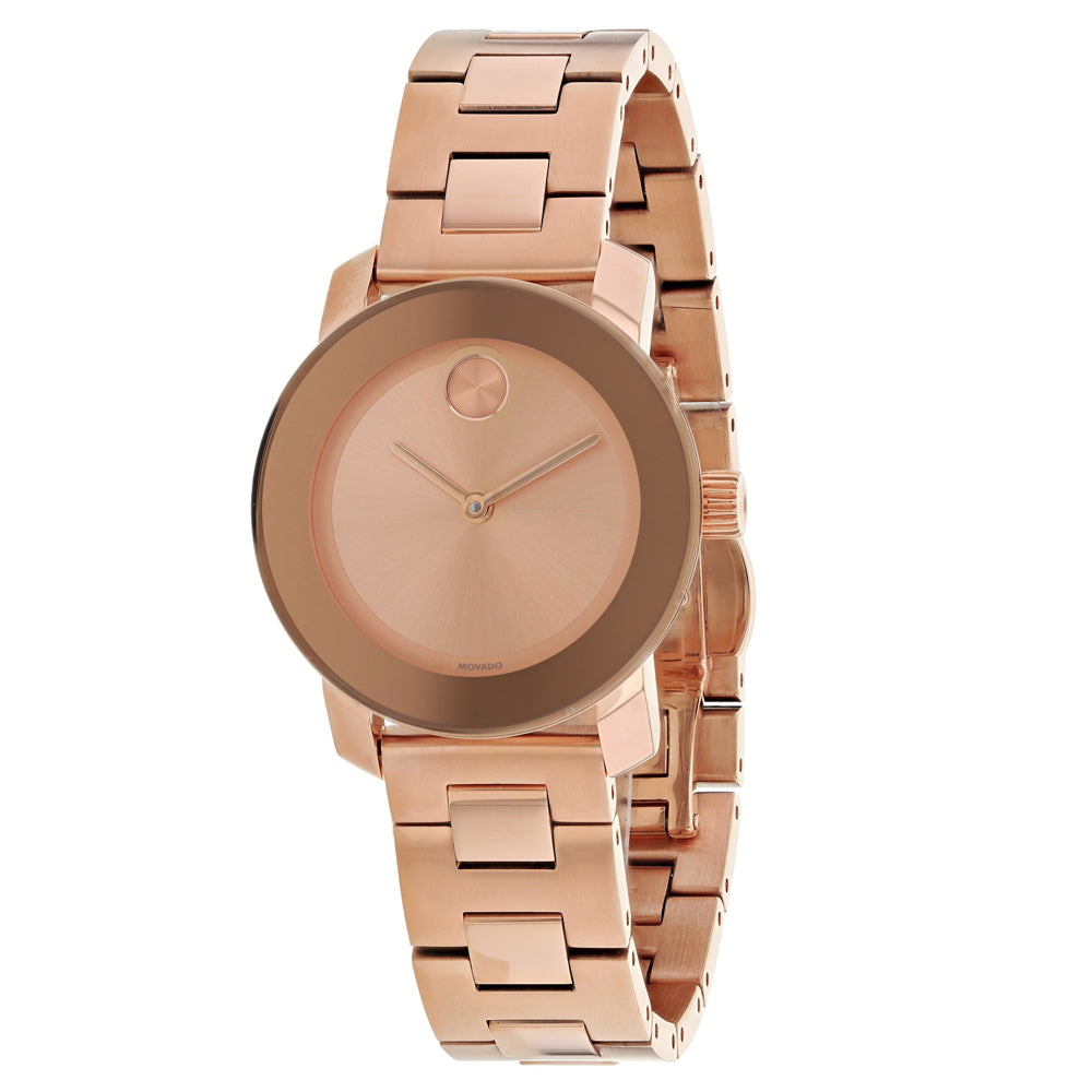 Ladies Rose Gold Bold Stainless Steel Analogue Movado Watch 3600435