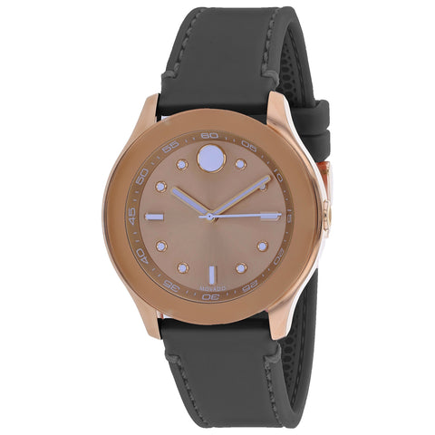Ladies Grey Bold Leather Analogue Movado Watch 3600458