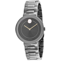 Ladies Gunmetal Bold Stainless Steel Analogue Movado Watch 3600500