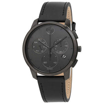 Men's Black Bold Leather Chronograph Movado Watch 3600632