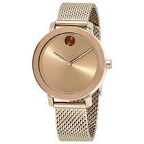Ladies Rose Gold Bold Stainless Steel Analogue Movado Watch 3600654