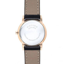 Ladies Black Museum Leather Analogue Movado Watch 607206