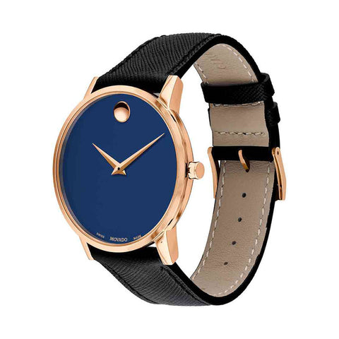 Men's Blue Museum Sport Leather Analogue Movado Watch 607266