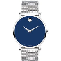 Men's Blue Museum Stainless Steel Analogue Movado Watch 607349