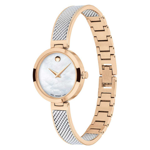 Ladies Rose Gold Amika Stainless Steel Analogue Movado Watch 607363
