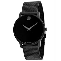 Men's Black Museum Stainless Steel Analogue Movado Watch 607395