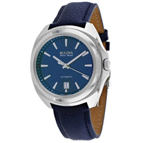 Men's Blue Accu Leather Analogue Bulova Watch 63B185