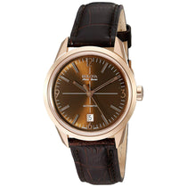 Men's Brown Accu Leather Analogue Bulova Watch 64B124