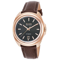 Men's Brown Telc Leather Analogue Bulova 64B126