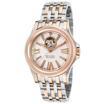 Men's Silver-Rose Gold Stainless Steel Analogue Bulova Watch 65A105