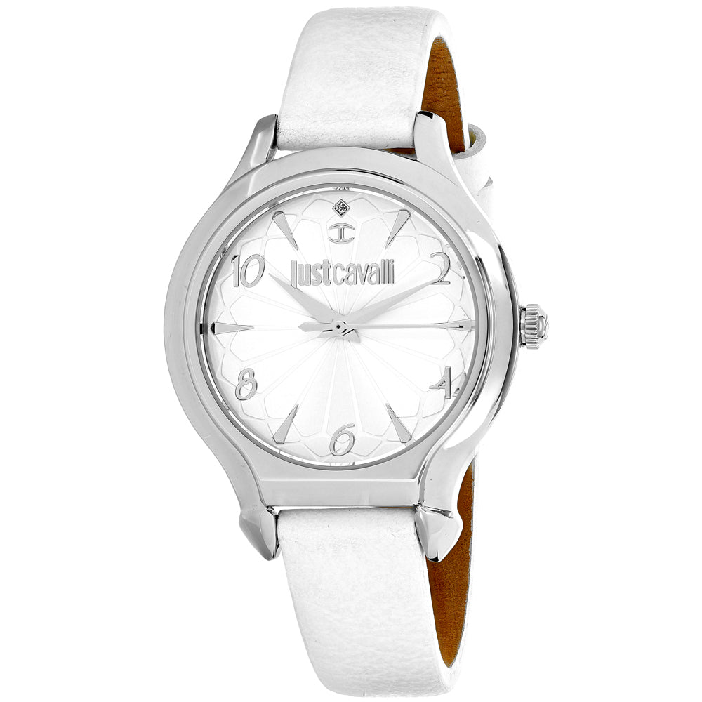 Ladies White Hook J Leather Analogue Just Cavalli Watch 7251533504