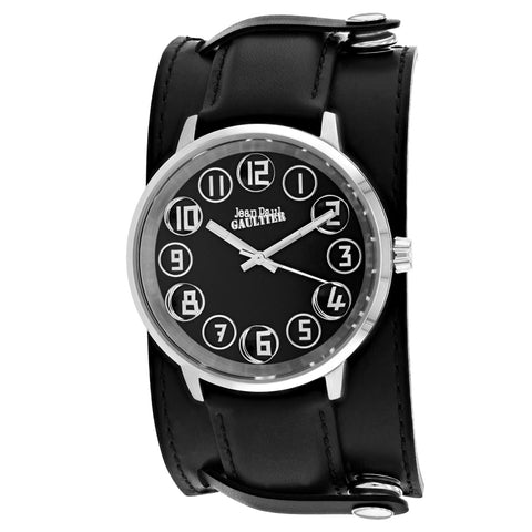 Men's Black Decroche Leather Analogue Jean Paul Gaultier Watch 8504701