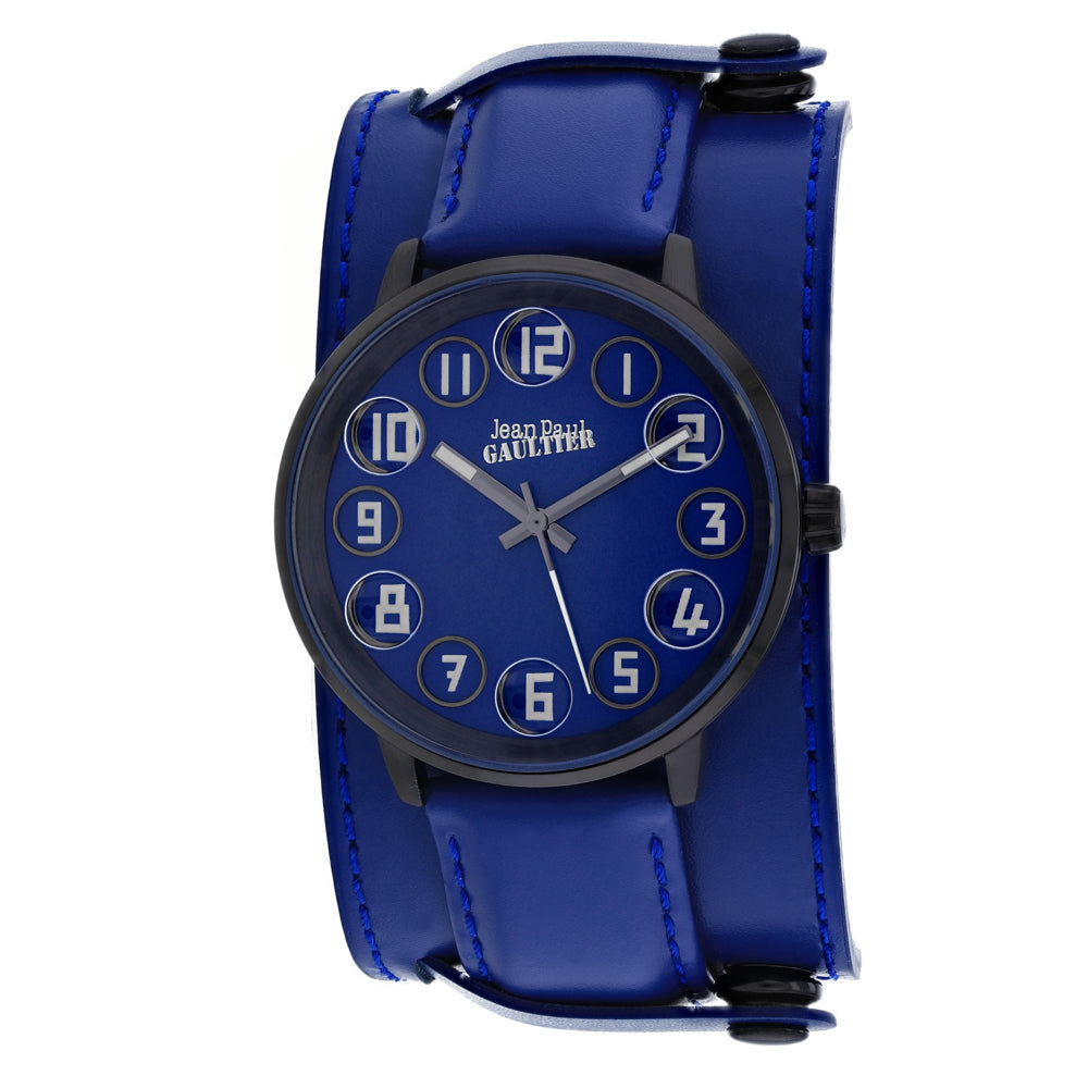 Men's Blue Decroche Leather Analogue Jean Paul Gaultier Watch 8504704