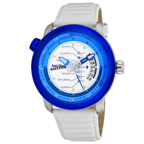 Men's White Cockpit Leather Analogue Jean Paul Gaultier Watch 8504903