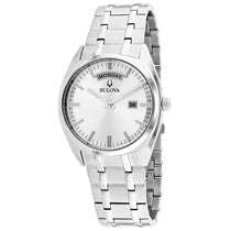 Men's White Classic Stainless Steel Analogue Bulova Watch 96C127