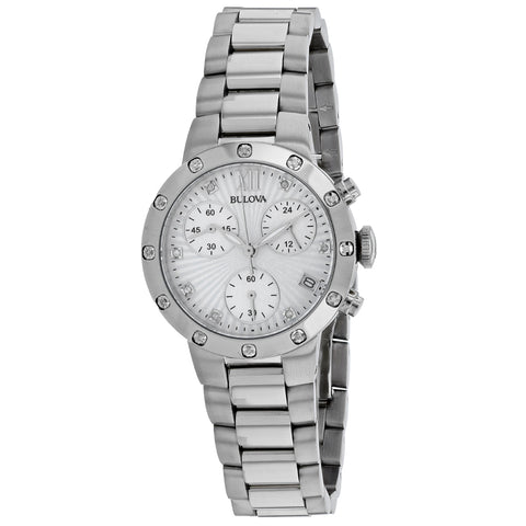 Women's Silver Maiden Stainless Steel Chronograph Bulova Watch 96R202