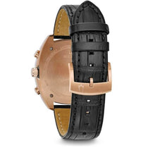 Men's Black Curv Leather Analogue Bulova Watch 98A156