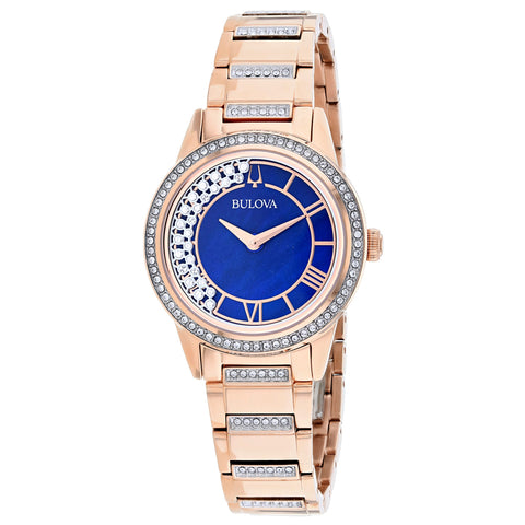 Ladies Rose Gold TurnStyle Stainless Steel Analogue Bulova Watch 98L247
