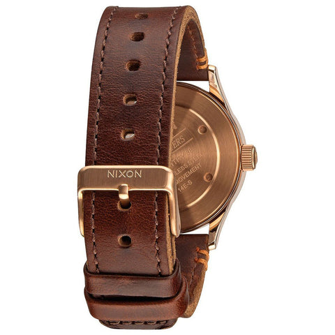 Men's Brown Sentry 38 SS Leather Leather Analogue Nixon Watch A377-2001