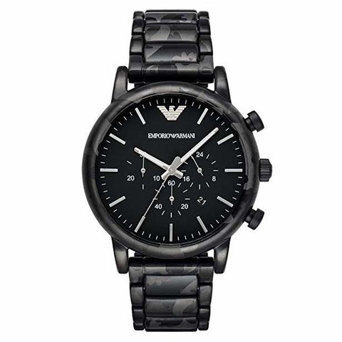 Men's Luigi Black Stainless Steel Chronograph Emporio Armani Watch AR11045