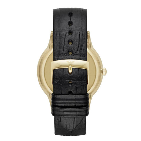 Men's Gold And Black Leather Strap Emporio Armani Watch AR11049
