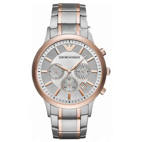 Men's Stainless Steel & Rose Gold Chronograph Emporio Armani Watch AR11077