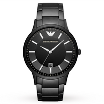 Men's Black Dial Stainless Steel Strap Emporio Armani Watch AR11079