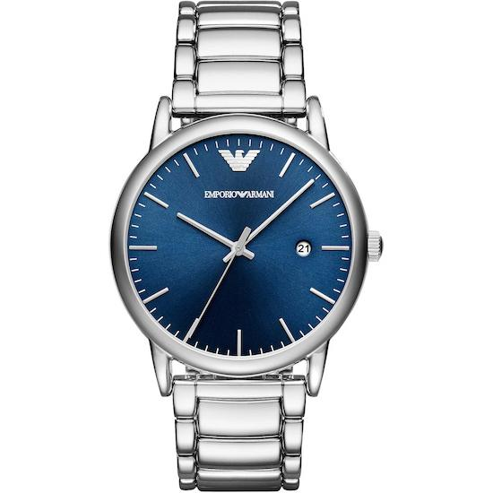 Men's Blue Dial Silver Stainless Steel Emporio Armani Watch AR11089