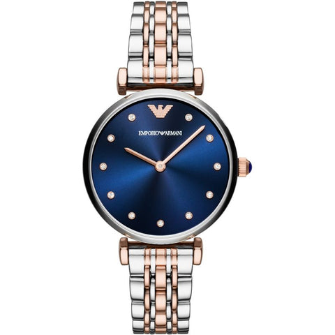 Ladies Rose Gold and Silver Blue Dial Emporio Armani Watch AR11092
