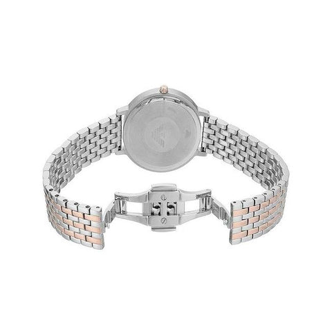 Ladies Silver Rose Gold Stainless Steel Bracelet Emporio Armani Watch AR11113