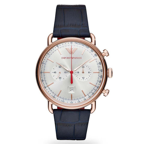 Men's Blue Leather Chronograph Emporio Armani Watch AR11123