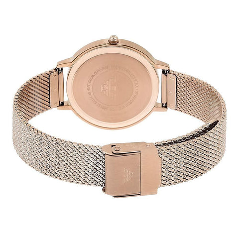 Ladies Rose Gold Stainless Steel Mesh Strap Emporio Armani Watch AR11129
