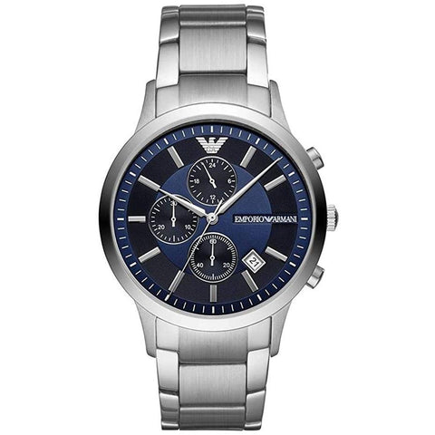 Men's Silver & Blue Stainless Steel Chronograph Emporio Armani Watch AR11164