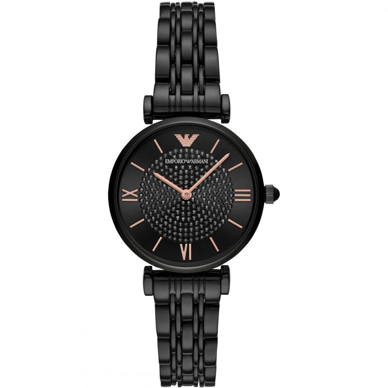 Ladies Black Stainless Steel Emporio Armani Watch AR11245