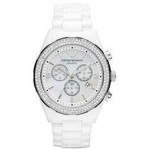 Ladies White Crystal Ceramic Chronograph Emporio Armani Watch AR1456