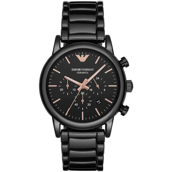 Men's Black & Rose Gold Ceramic Chronograph Emporio Armani AR1509