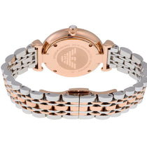 Ladies Rose Gold and Silver Mother of Pearl Stainless Steel Emporio Armani Watch AR1683
