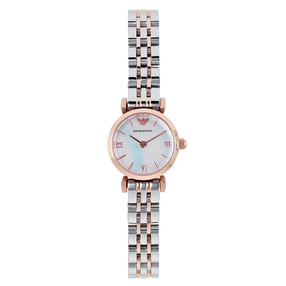 Ladies Silver & Rose Gold Stainless Steel Emporio Armani Watch AR1764