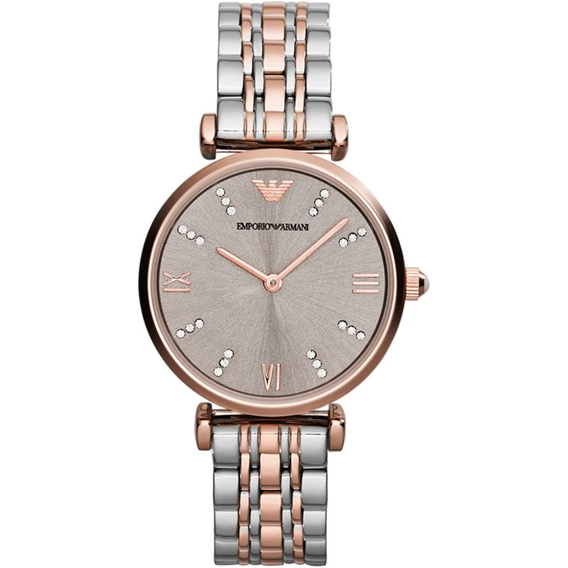 Ladies Silver and Rose Gold Two Tone Stainless Steel Emporio Armani Watch AR1840
