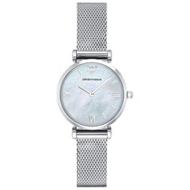Ladies Mother Of Pearl Dial Silver Stainless Steel Mesh Emporio Armani Watch AR1955