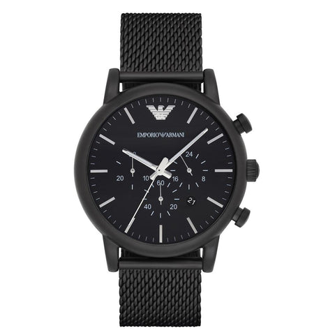 Men's Black Mesh Stainless Steel Chronograph Emporio Armani Watch AR1968