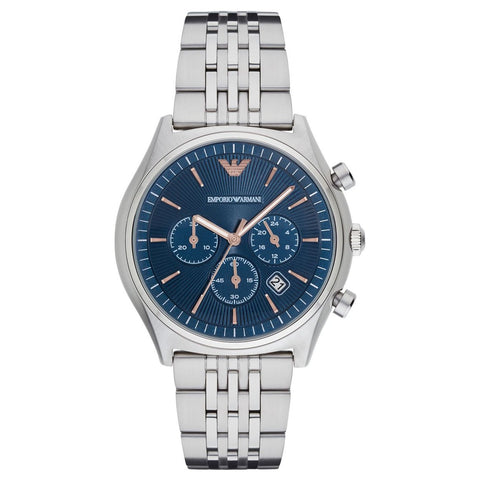Men's Silver & Blue Stainless Steel Chronograph Emporio Armani Watch AR1974