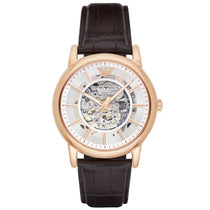 Men's Brown Leather & Rose Gold Emporio Armani Watch AR1983