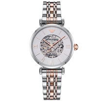 Ladies Meccanico Silver Rose Gold Stainless Steel Emporio Armani Watch AR1992