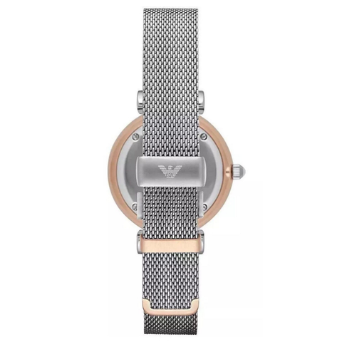 Ladies Silver & Rose Gold Mother Of Pearl Emporio Armani Watch AR2067